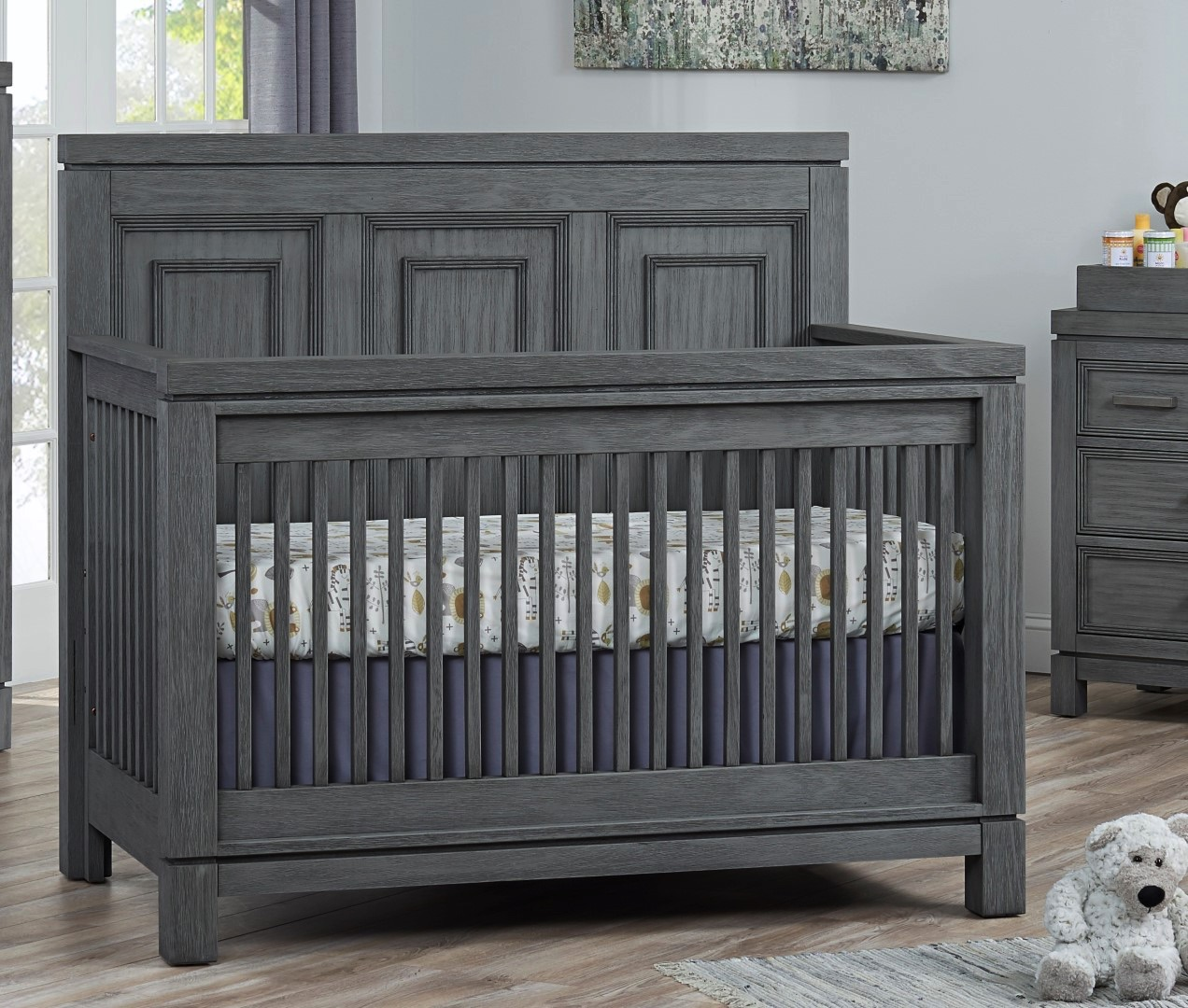 4 In 1 Convertible Crib Manchester Rustic Gray Soho Baby